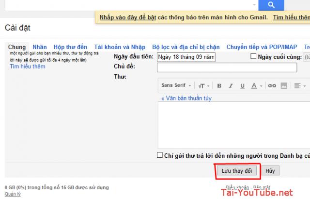 Hướng dẫn cài đặt tính năng Bật/Tắt thông báo khi có thư mới trên Gmail + Hình 6