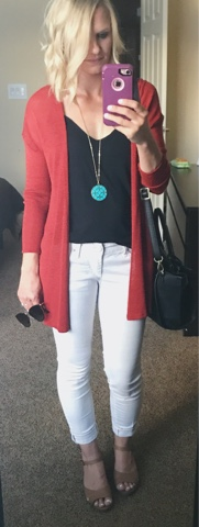 Thritty Wife, Happy Life- Daily outfits.  Orange cardigan with white pants and turquoise accessories
