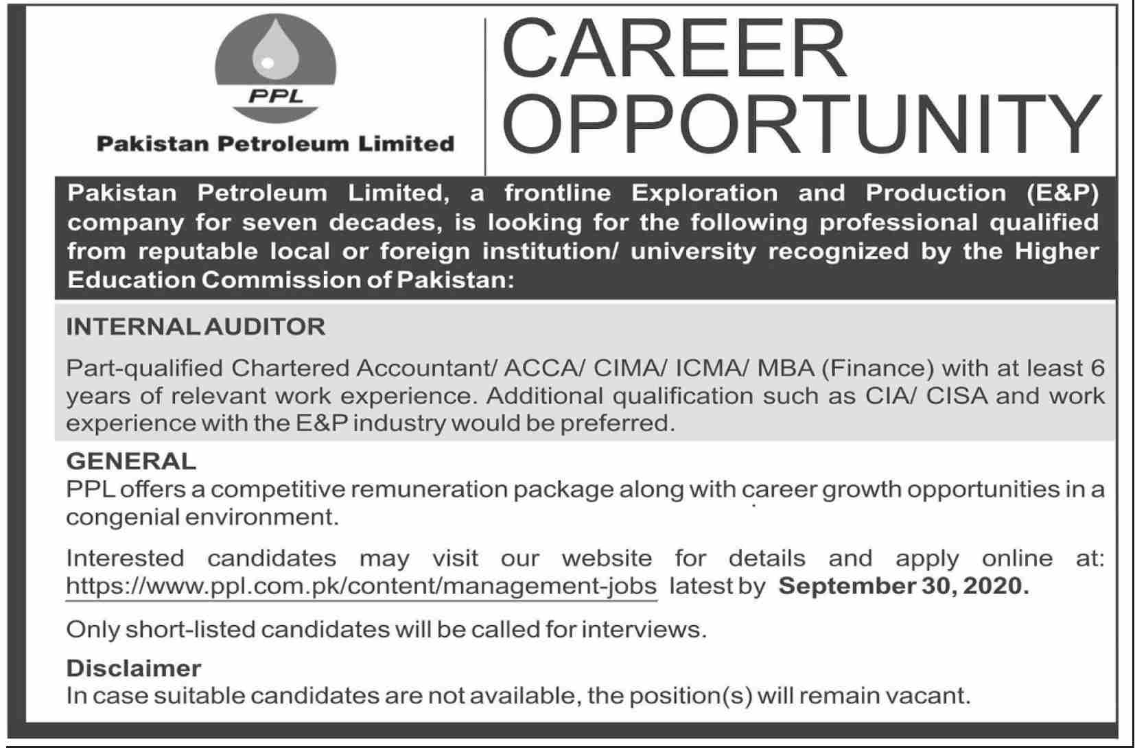 Pakistan Petrolium Limited Jobs September 2020