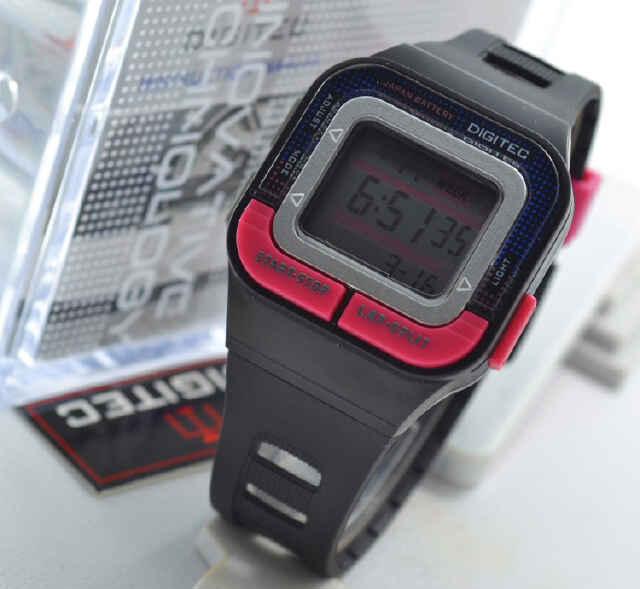 Jual jam tangan Digitec DG3026T black rubber pink