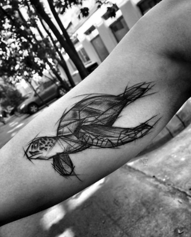 Este esboço estilo tartaruga do mar