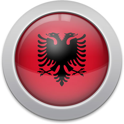 Albanian flag icon with a silver frame