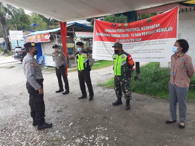 Tim gabungan Tinjau Pelaksaan Prokes di Kelurahan minas jaya Kecamatan Minas
