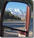 Mt. Timpanogos in rear view mirror, Provo