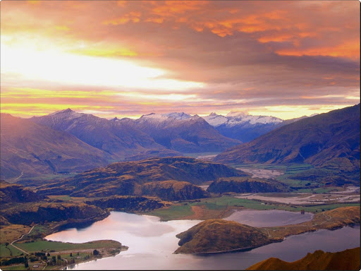 Sunset Over Lake Wanaka From Mount Roy, Mount Aspiring in the Distance, Central Otago, New Zealand.jpg