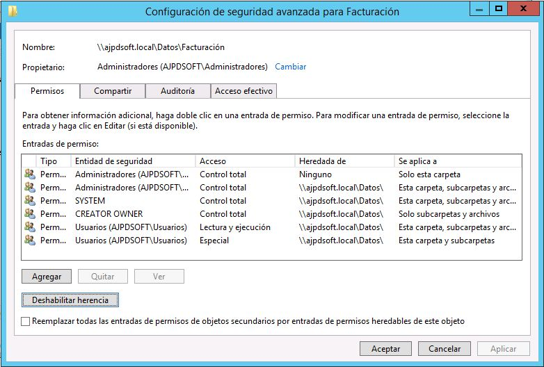 Establecer permisos a carpeta tras instalar rol de replicación DFS y espacio de nombres DFS