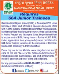 RINL Junior Trainees Advertisement 2018 www.indgovtjobs.in