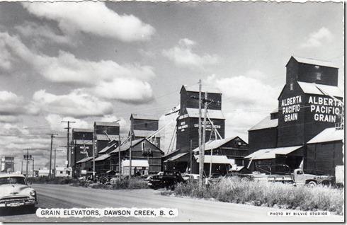 Grain Elevators in Dawson Creek, 1950 era, from Internet