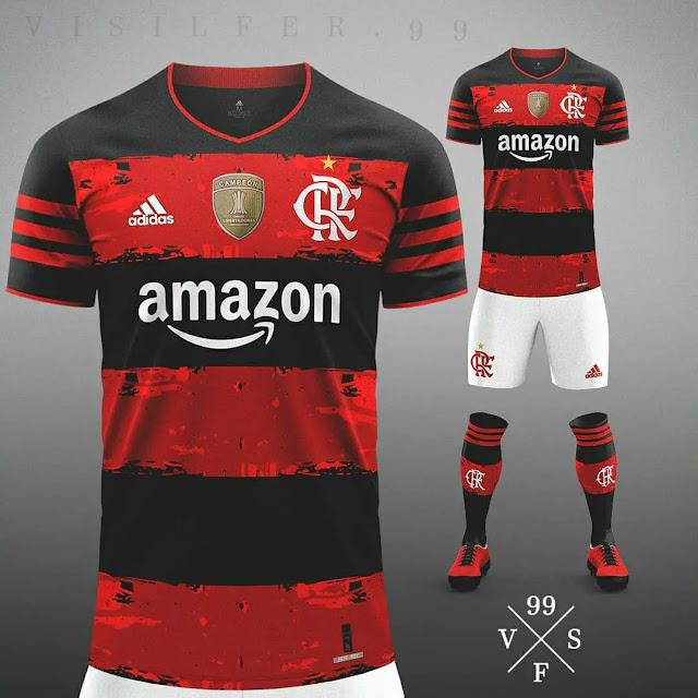 gambar foto render bocoran jersey flamengo home musim depan 2020-2021