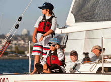 J/29 sailing with youth sailors