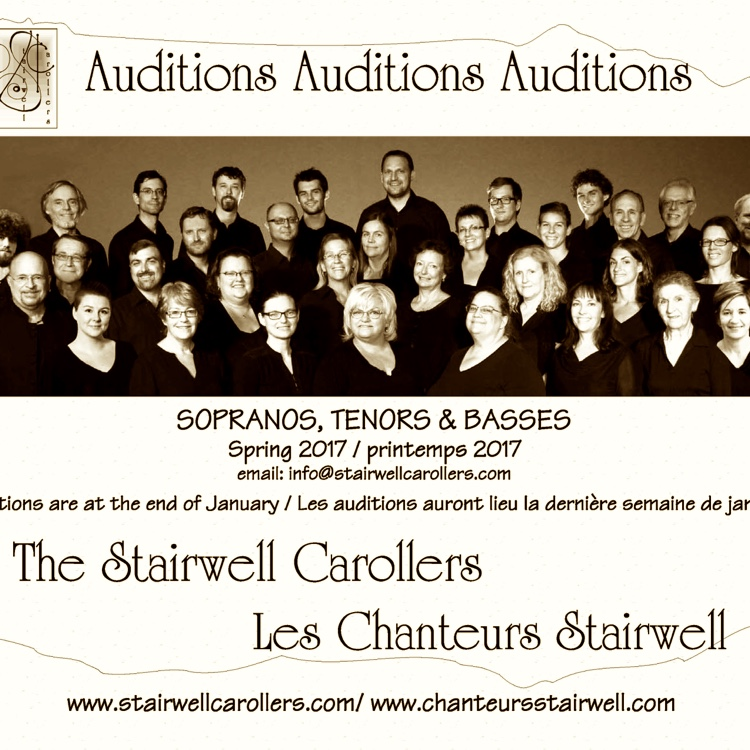 Stairwell Carollers Auditions for Spring 2017 - email us now to book yours!