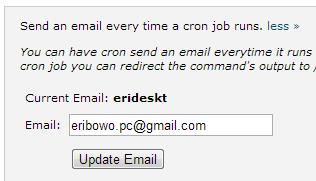 Memasukan email untuk notifikasi