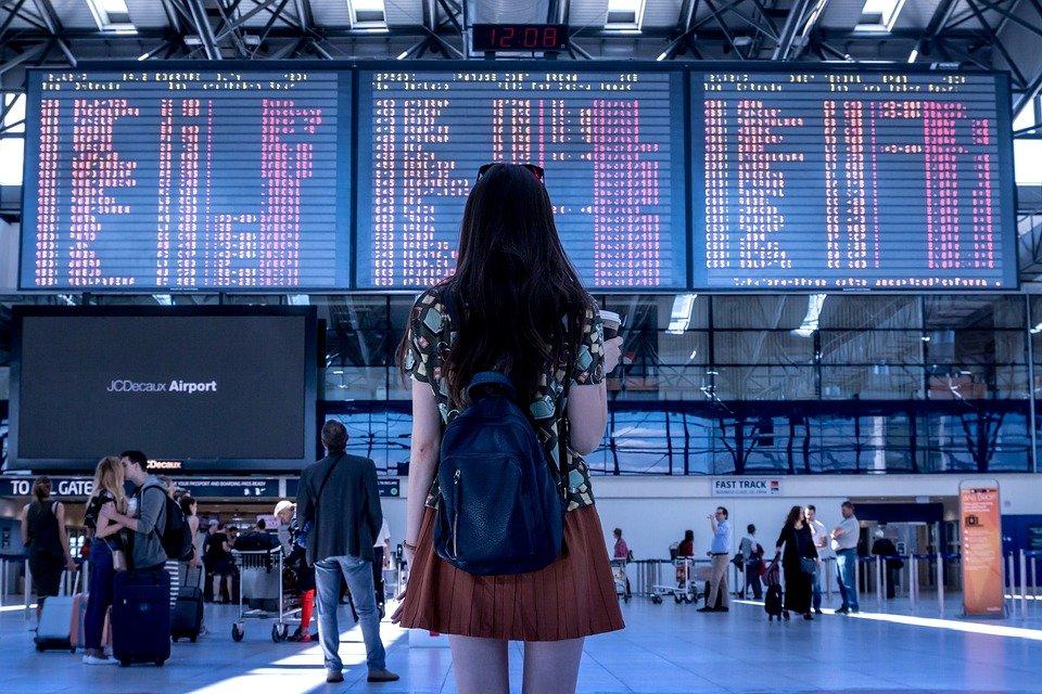 Aeroporto, Transporte, Mulher, Menina, Turístico
