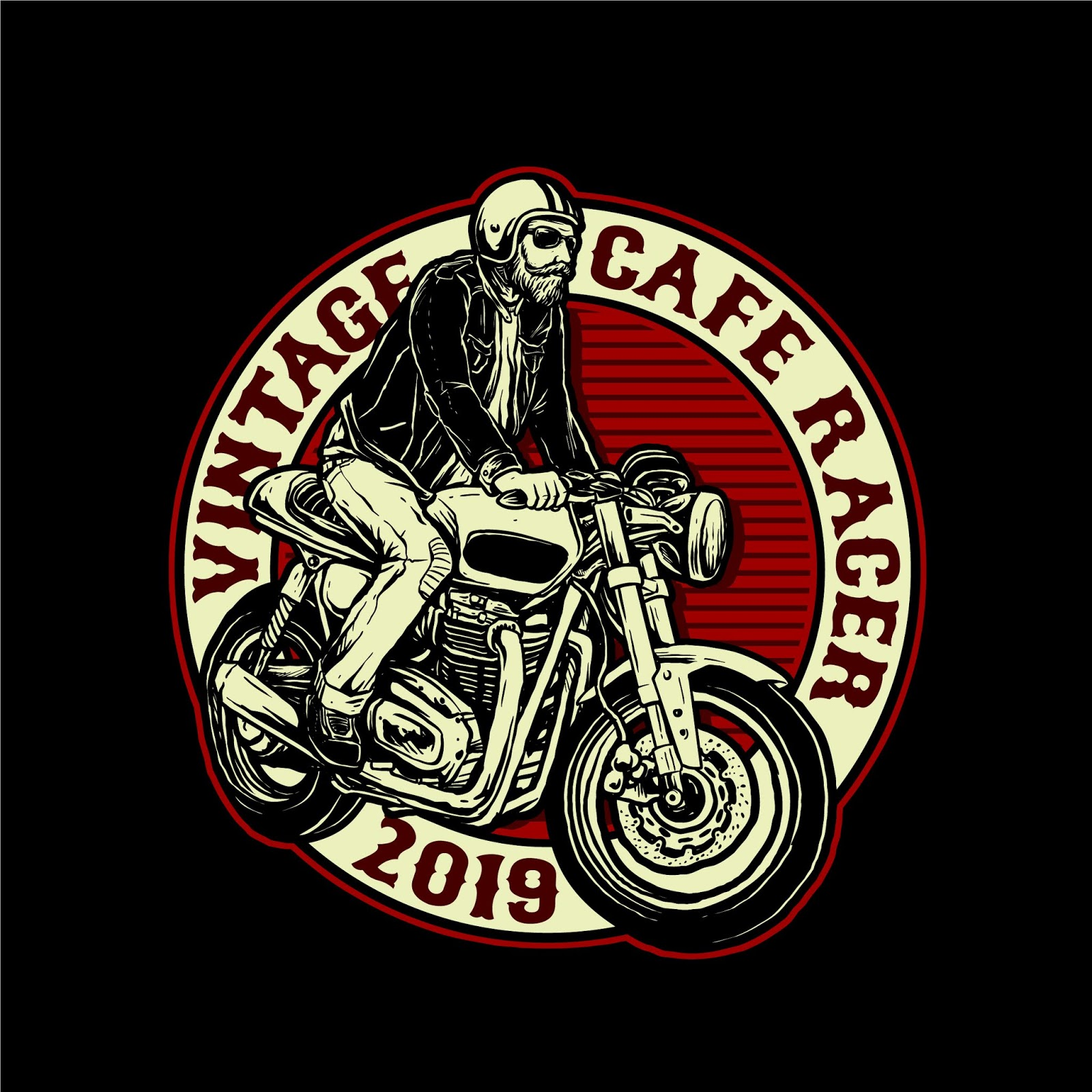 Man Riding Cafe Racer Motorcycle Vector Badge Free Download Vector CDR, AI, EPS and PNG Formats