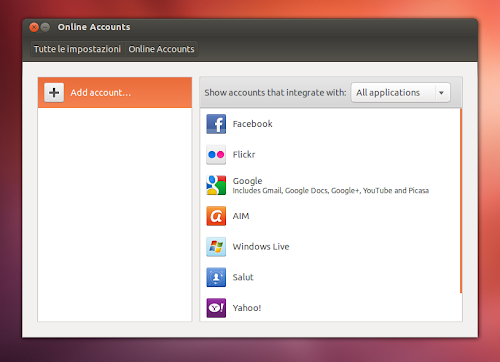 Online Accounts su Ubuntu 12.10