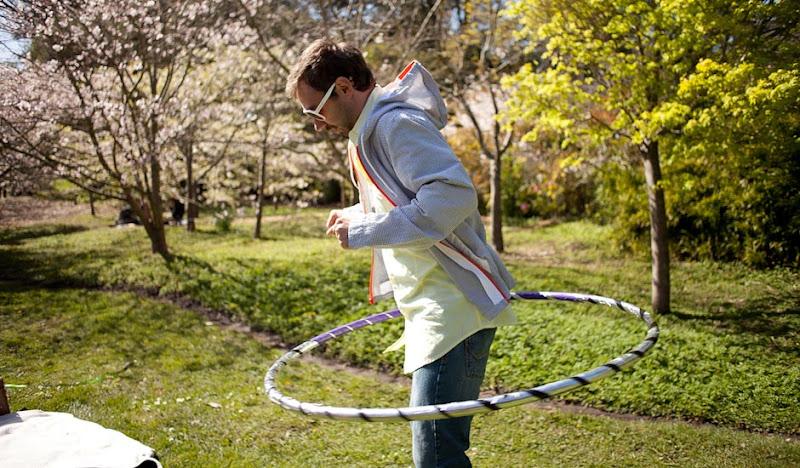 Gray seersucker hoodie hula hooping