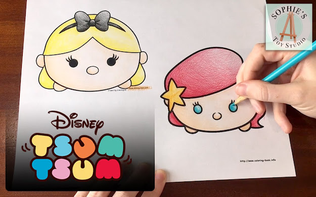 Princess Ariel  Alice Disney Tsum Tsum Coloring Page  Cute Stackable Toys