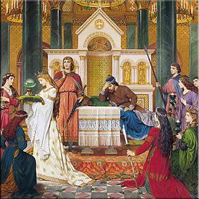 Parsifal en amfortas en el castillo del grial. Pintura mural de la sala de los cantores, august spiess, 1883-84