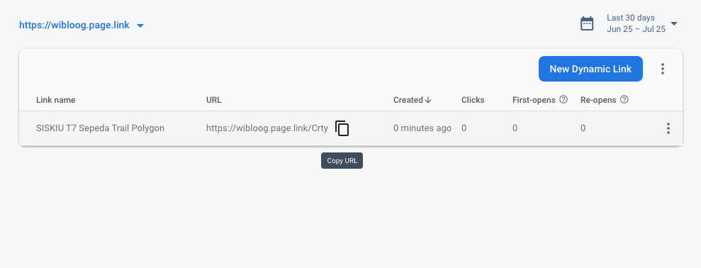 menu dynamic links