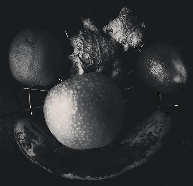 black and white photography, fruit bowl, still life, contemporary, photo,