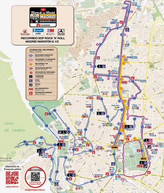 Plano de Transporte Público en el Maratón de Madrid 2015 - Pincha para ampliar