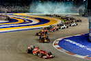 Start of the 2014 Singapore F1 GP Alonso being 2nd