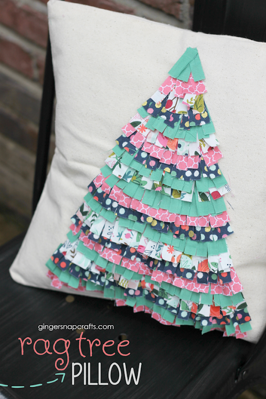 rag tree pillow at GingerSnapCrafts.com #cricutmade #cricutmaker