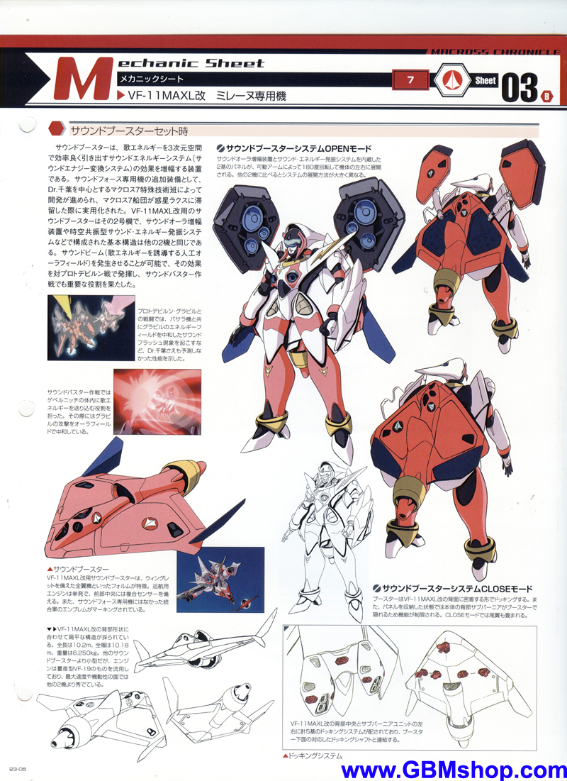 Macross 7 VF-11MAXL Kai Custom Mylene Valkyrie (Sound Force) Mechanic & Concept Macross Chronicle