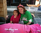 Niblette and I working at the Pink Honor Roll tent. Her attempt at bunny ears didn't really go as planned.