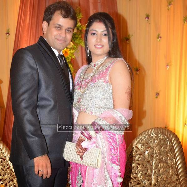 Sumit and Toshi Motwani during their wedding reception, held in Nagpur.