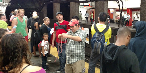 Because of rain we were in the subways. I praise God that many listen as I share Christ in the open air!
