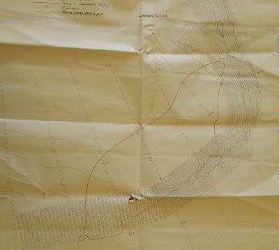 """Карта промера глубин в истоке НаровыКрасным указана зона льда в январе 1927 г. Зелёным - крепкое (известняк) дно.Буква """"Р"""" с номером - места сверления дна."""