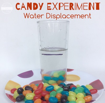 candy experiment showing water displacement