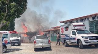 Incêndio quase atinge hospital de Jussara, na região de Irecê; Veja o vídeo: