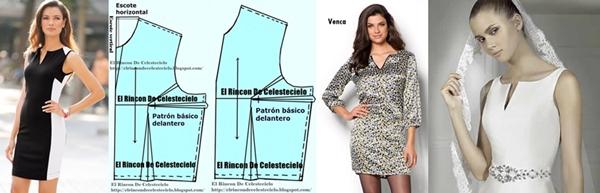 Modelos y trazo patrón escote básico con abertura de pico