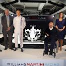 Williams Martini FW36 with Felipe Massa, Pat Symonds, Valtteri Bottas, Sir Frank Williams, Claire WIlliams and Mike O'Driscoll