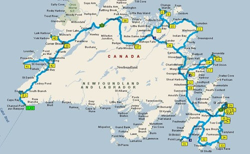 2016 Newfoundland Travel Map