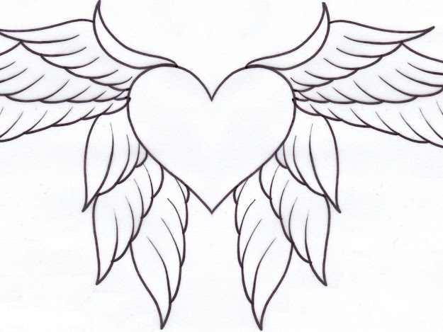 Download Heart Coloring Pages With Wings