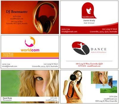 Algunas de las plantillas gratuitas para tarjetas de autónomos que pueden encontrarse en este sitio.