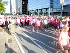 The mass of pink people at the starting line.