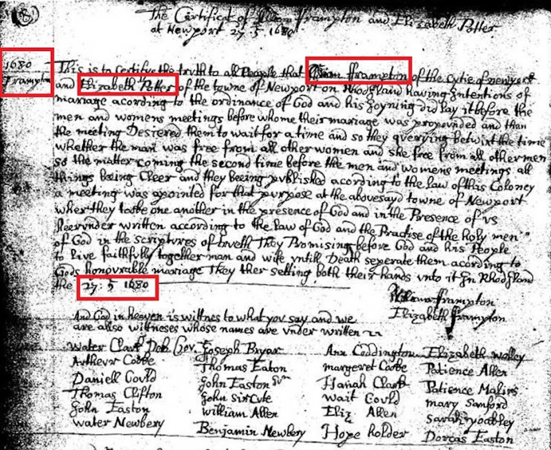 FRAMPTON_William marriage to Elizabeth POTTER_27 Jul 1680_NewportRhodeIsland_annotated