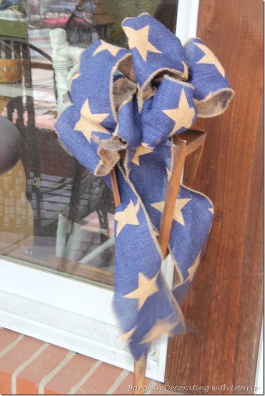 BLUE BULAP BOW WITH STARS