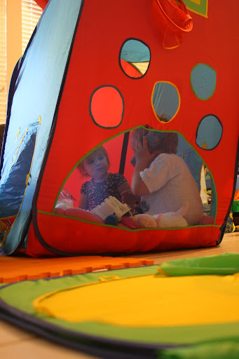 My children play nicely in the main tent as they fill the bottom with toys.