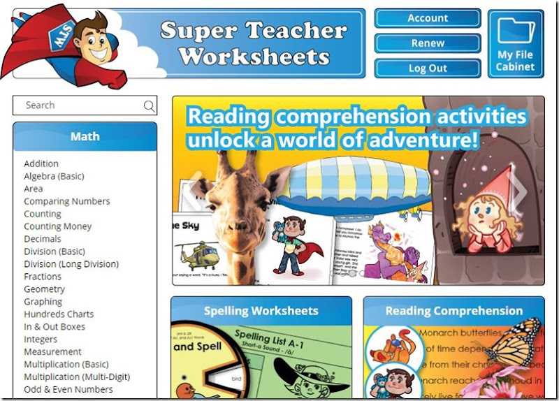 super teacher worksheets home page