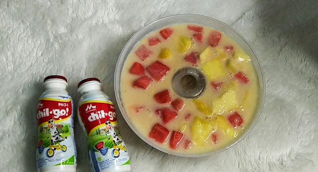 resep  puding buah menggunakan susu cair anak