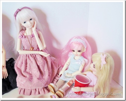 Having a doll tea party, with one problem.