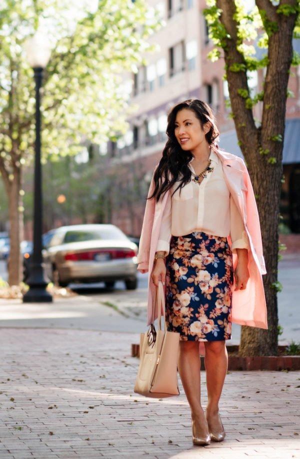 Floral pensil skirt