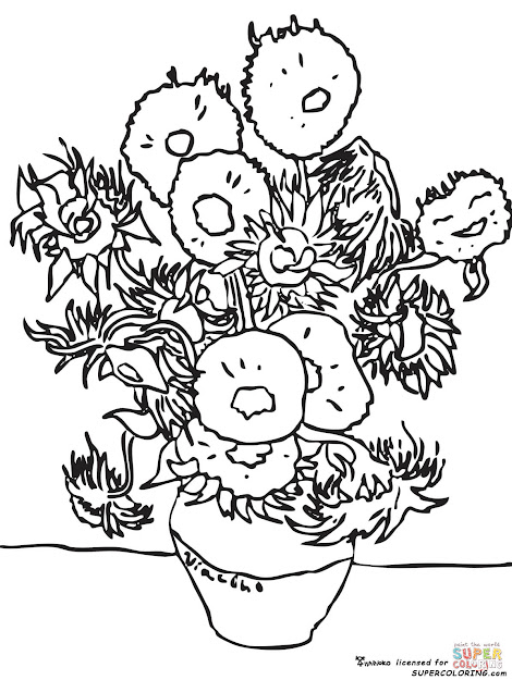 Click The Sunflowers By Vincent Van Gogh Coloring Pages To View Printable