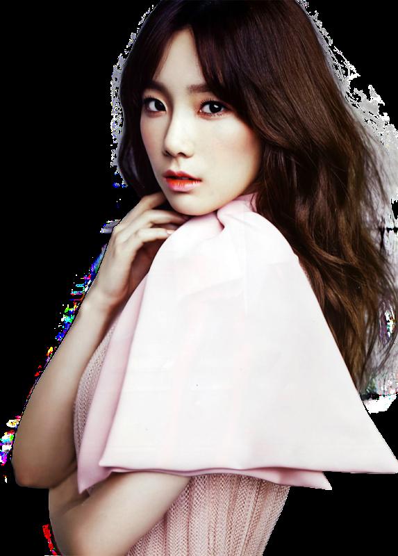ピンク色コートの少女時代テヨンの背景透過画像
