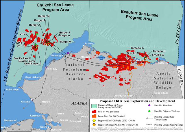 Proposed Shell and ConocoPhillips oil wells in the Arctic Ocean, 2012-2014: Graphic: Northern Alaska Environmental Center